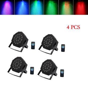 24W 18-RGB LED Auto / Voice Control DMX512 High Brightness Mini Stage Lamp (AC 100-240V) Black *4