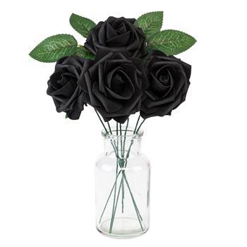 50pcs PE Foam Rose Flower Black