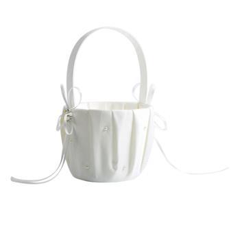 Pearl Satin Wedding Flower Girl Basket Ivory