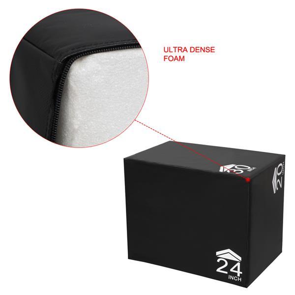 "3 in 1 30""x24""x20"" Foam Plyometric Box High Density Heavy Duty Foam Jumping Box Platform for Home Gym Fitness Black"