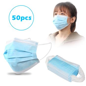 50pcs 3-Ply Disposable Face Mask with Elastic Earloop