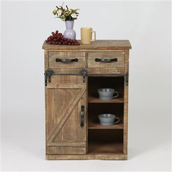 32''H Rustic Barn Door Wood End Table Wood Console Cabinet, Farmhouse Wood Storage Cabinet Country Vintage Furniture