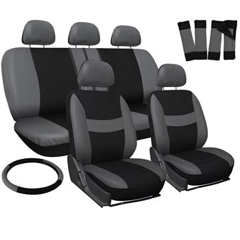 Four Seasons Universal 5-Headrest Flat Cloth Car Seat Cover 10-Piece Set Gray & Black