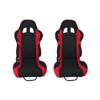 A Pair of  Single Adjuster Double - Track Racing Seats Black And Red Nylon