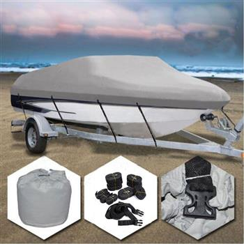 14-16ft 600D Oxford Fabric High Quality Waterproof Boat Cover with Storage Bag Gray