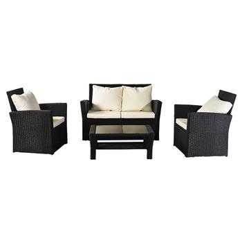 Oshion Outdoor Rattan Sofa Combination Four-piece Package-Black Package-1 (Combination Total 2 Boxes)