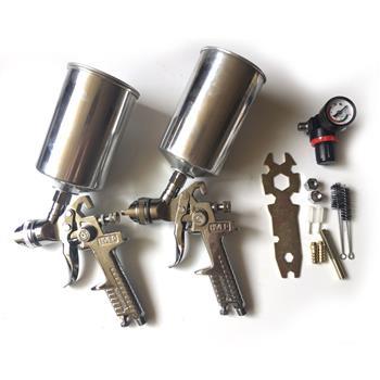 2pc HVLP Spray Gun Kit Silver