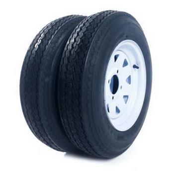 qty2 Trailer Tires & Rims Tubeless 4 Lug Wheel White Spoke 4 Ply 5.30-12