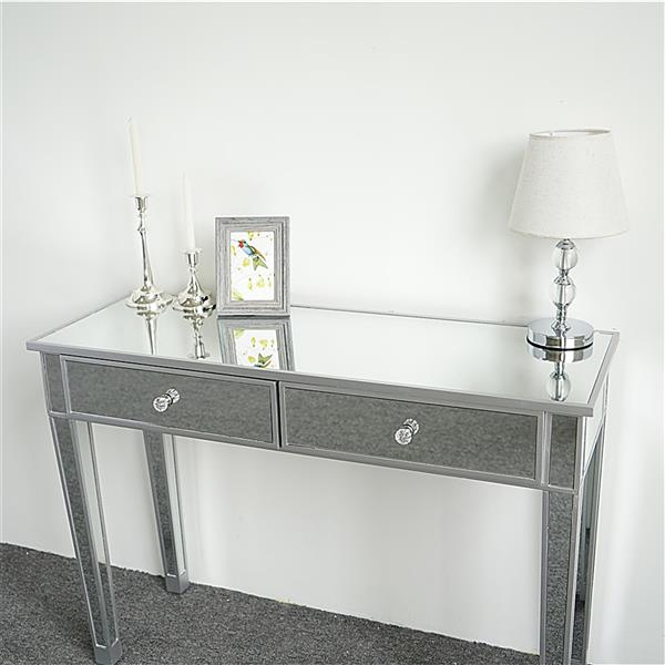 Mirrored Makeup Table Desk Vanity for Women with 2 Drawers