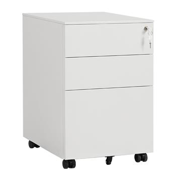 39cm Wide Three Drawer Side Pull Movable Cabinet White