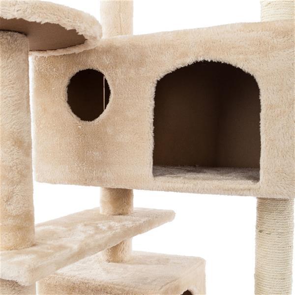 "52"" Solid Cute Sisal Rope Plush Cat Climb Tree Cat Tower Beige"