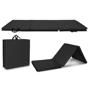 """6'x2'x2"""" Tri-fold Gymnastics Yoga Mat with Hand Buckle Black"""