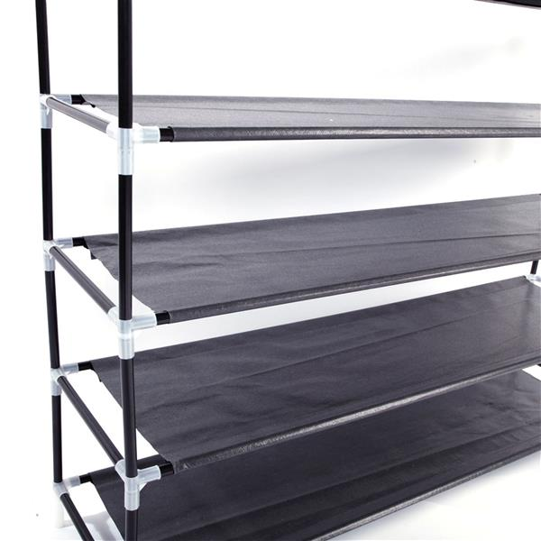 Simple Assembly 5 Tiers Non-woven Fabric Shoe Rack with Handle Black