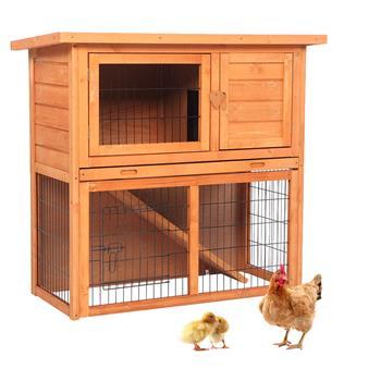 """36"""" Waterproof 2 Tiers Pet Rabbit Hutch Chicken Coop Cage Hen House Wood Color"""