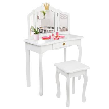 Children's Wooden Dressing Table Three-Sided Folding Mirror Dressing Table Chair Single Drawer White Crown Style