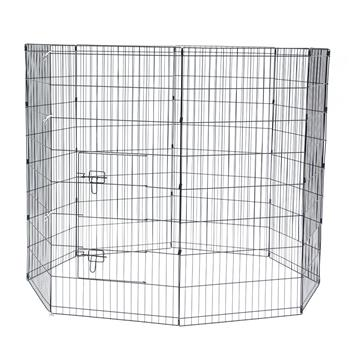 """48"""" Tall Wire Fence Pet Dog Cat Folding Exercise Yard 8 Panel Metal Play Pen Black"""