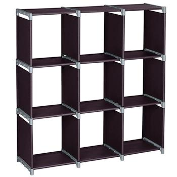 Multifunctional Assembled 3 Tiers 9 Compartments Storage Shelf Dark Brown