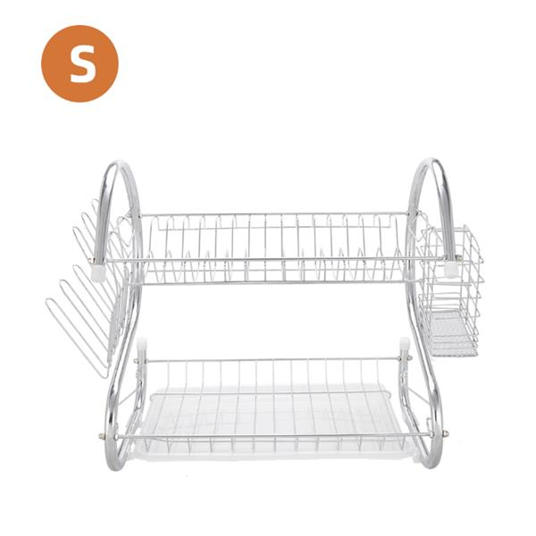 Multifunctional S-shaped Dual Layers Bowls & Dishes & Chopsticks & Spoons Collection Shelf Dish Drai