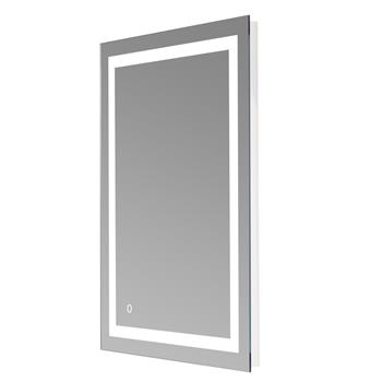 """40""""x 24"""" Square Built-in Light Strip Touch LED Bathroom Mirror Silver"""