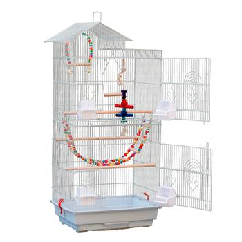 """39"""" Bird Parrot Cage Canary Parakeet Cockatiel LoveBird Finch Bird Cage with Wood Perches & Food Cups 3 Bird Toys White"""