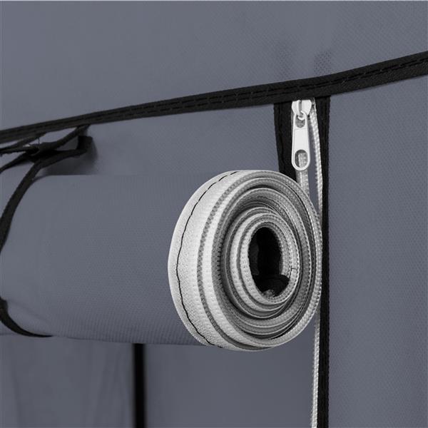 "69"" Portable Clothes Closet Non-Woven Fabric Wardrobe Double Rod Storage Organizer Gray"