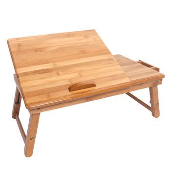 53cm Trendy Adjustable Bamboo Computer Desk Wood Color