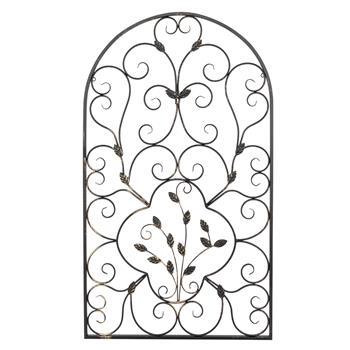 "41"" Semi-Circular Retro Decorative Spanish Arch Wall Art Leaf Shape Iron Ornament"