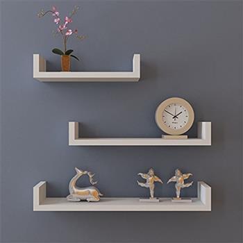 Set of 3 Floating Display Shelves Ledge Bookshelf Wall Mount Storage Home Décor White