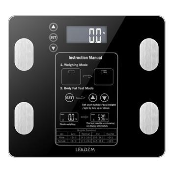 LEADZM AW938 180kg/100g Digital Body Fat Scale Health Analyser Fat Muscle BMI Black