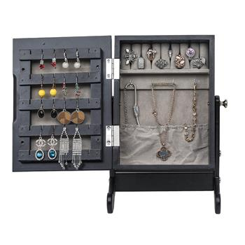 Small Mirror Jewelry Cabinet Organizer Armoire Storage Box Countertop with Stand Black