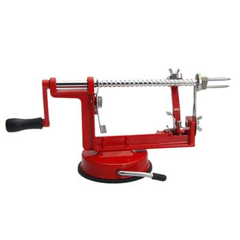 3-in-1 Stainless Steel Hand-cranking Apple Peeler Slicer Peeler Red