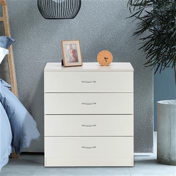 MDF Wood Simple 4-Drawer Dresser White
