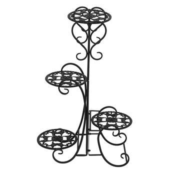 4 Potted Rounded Flower Metal Shelves Plant Pot Stand Decoration for Indoor Outdoor Garden Black