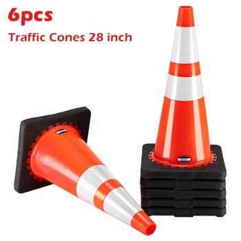 "Oshion (6 pcs) 28"" PVC American Road Cone Black Chassis Reflective Cone Warning Cone 36x36x70cm"