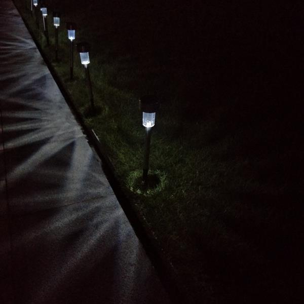 10pcs 5W High Brightness Solar Power LED Lawn Lamps with Lampshades White & Silver