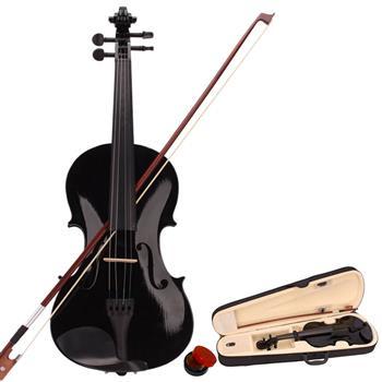 New 4/4 Acoustic Violin Case Bow Rosin Black