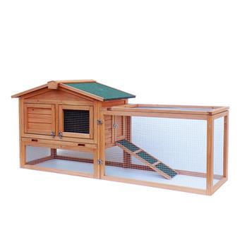 """61"""" Waterproof Two-tier Wooden Rabbit Hutch Cage Chicken Coop House Bunny Hen Pet Animal Backyard Ru"""