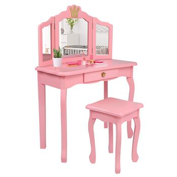 Children's Wooden Dressing Table Three-Sided Folding Mirror Dressing Table Chair Single Drawer Pink Crown Style