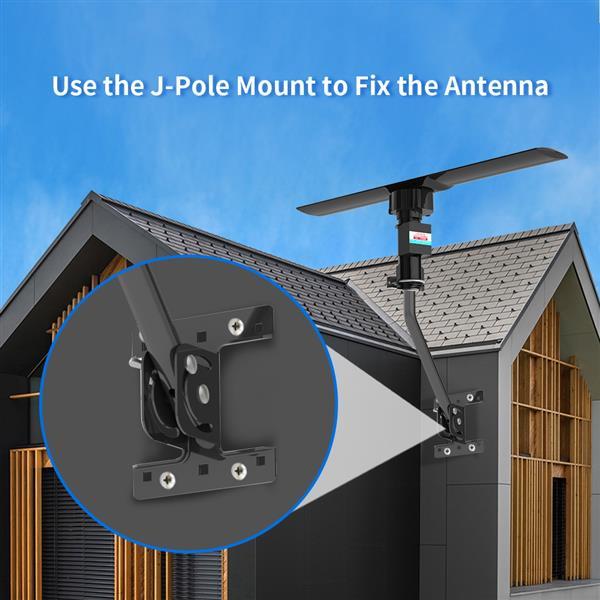 Leadzm 10000 110V 40-860MHz 20±3dB 350°Rotation UV Dual-band Outdoor Antenna Black
