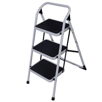 Home Use 3-Step Short Handrail Iron Ladder Black & White(Do Not Sell on Amazon)