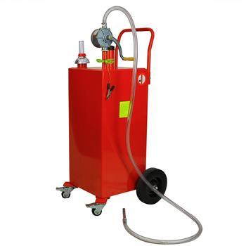 30 Gallon Gas Caddy Tank Storage Drum Gasoline Diesel Fuel Transfer with Universal Wheel Red JGC30 Pantone 186C