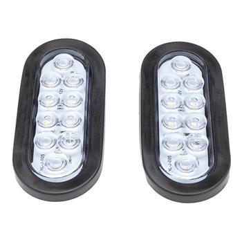 "2pcs 6"" Oval White 10 LED reverse backup Trailer Truck Light High Low Brightness"