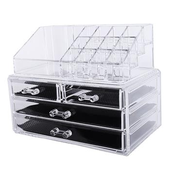 Multi-check & 4 Drawers Integrated Acrylic Makeup Case Cosmetics Organizer Transparent