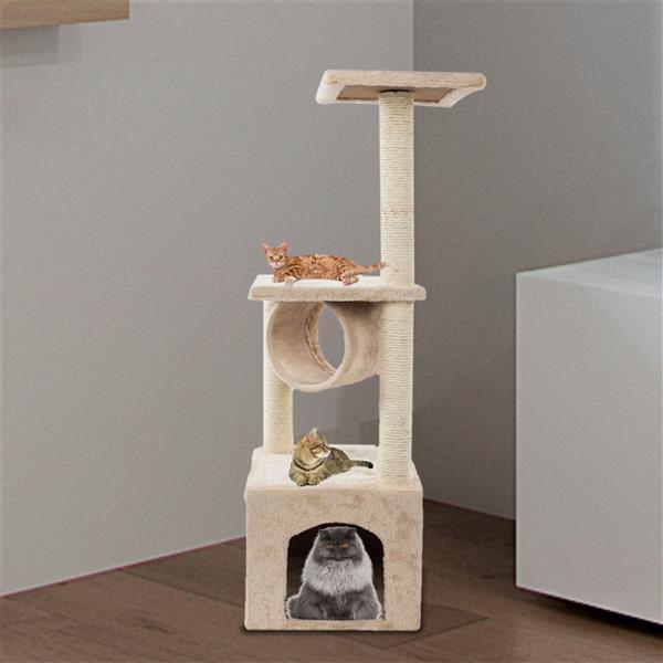 "36"" Solid Cute Sisal Rope Plush Cat Climb Tree Cat Tower Beige"