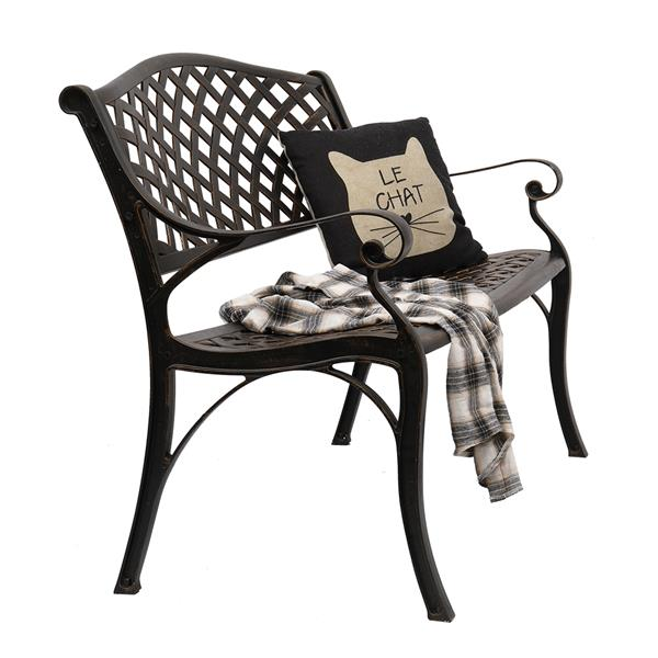 """40.5"""" Outdoor Cast Aluminum Bench With Mesh Backrest Seat Surface"""