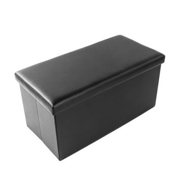 [FCH] PU Leather Smooth Footstool Black 76*38*38cm