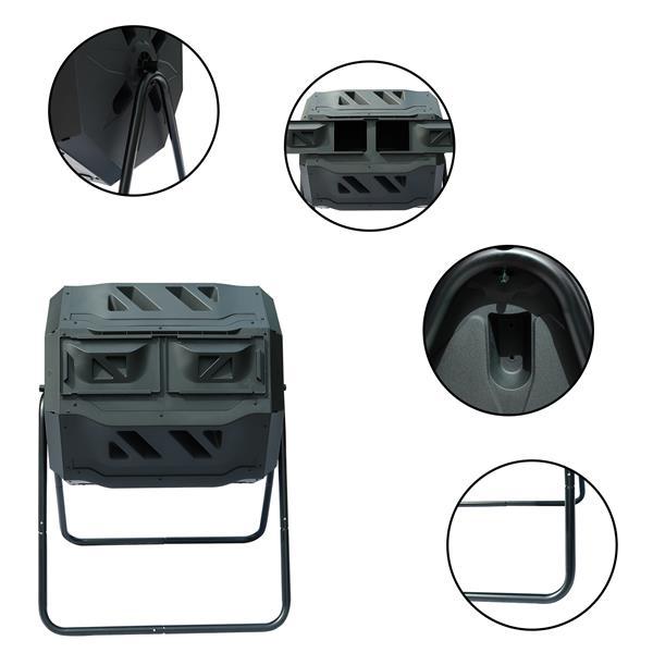 Garden Composting Tumbler, 42 Gallon Capacity with 2 Chambers Dual Rotating, Outdoor Yard Compost Bin,w/Sliding Door & Solid Steel