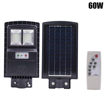 60W 80LED Outdoor Waterproof Light Solar Sensor Light with Light Control and Radar Sensor Black