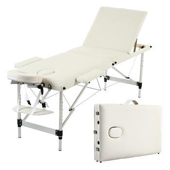 3 Sections Folding Aluminum Tube SPA Bodybuilding Massage Table Kit White
