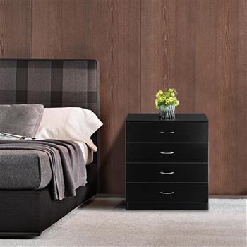 MDF Wood Simple 4-Drawer Dresser Black